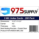 "975 Supply - Index Card Laminating Pouches - 5 Mil - 3-1/2"" x 5-1/2"" - 200 Pouches"