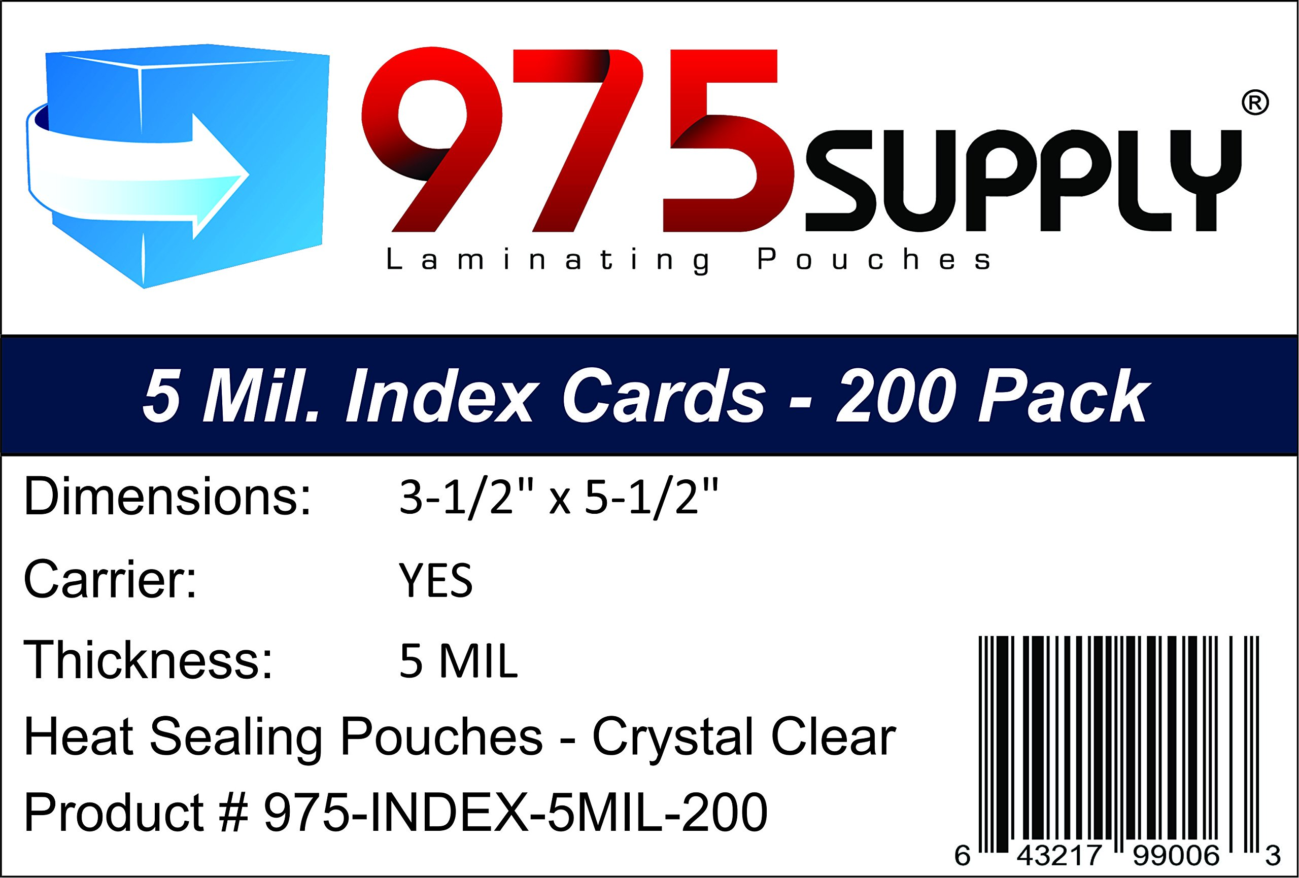 975 Supply - Index Card Laminating Pouches - 5 Mil - 3-1/2'' x 5-1/2'' - 200 Pouches