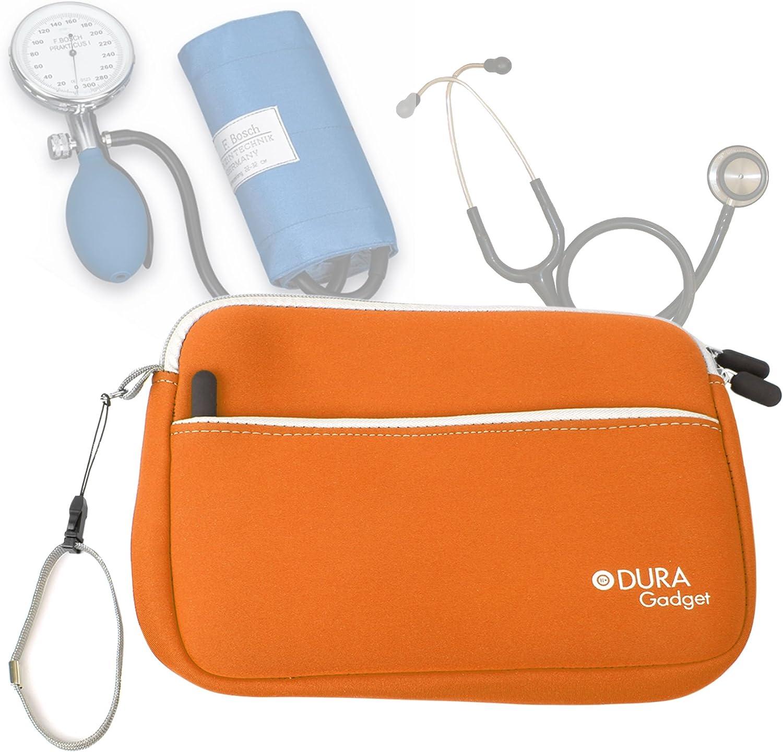 DURAGADGET Estuche De Neopreno Naranja para Guardar Sus Accesorios Médicos (Estetoscopio/Tensiómetro)   con Bolsillo Exterior + Correa De Mano
