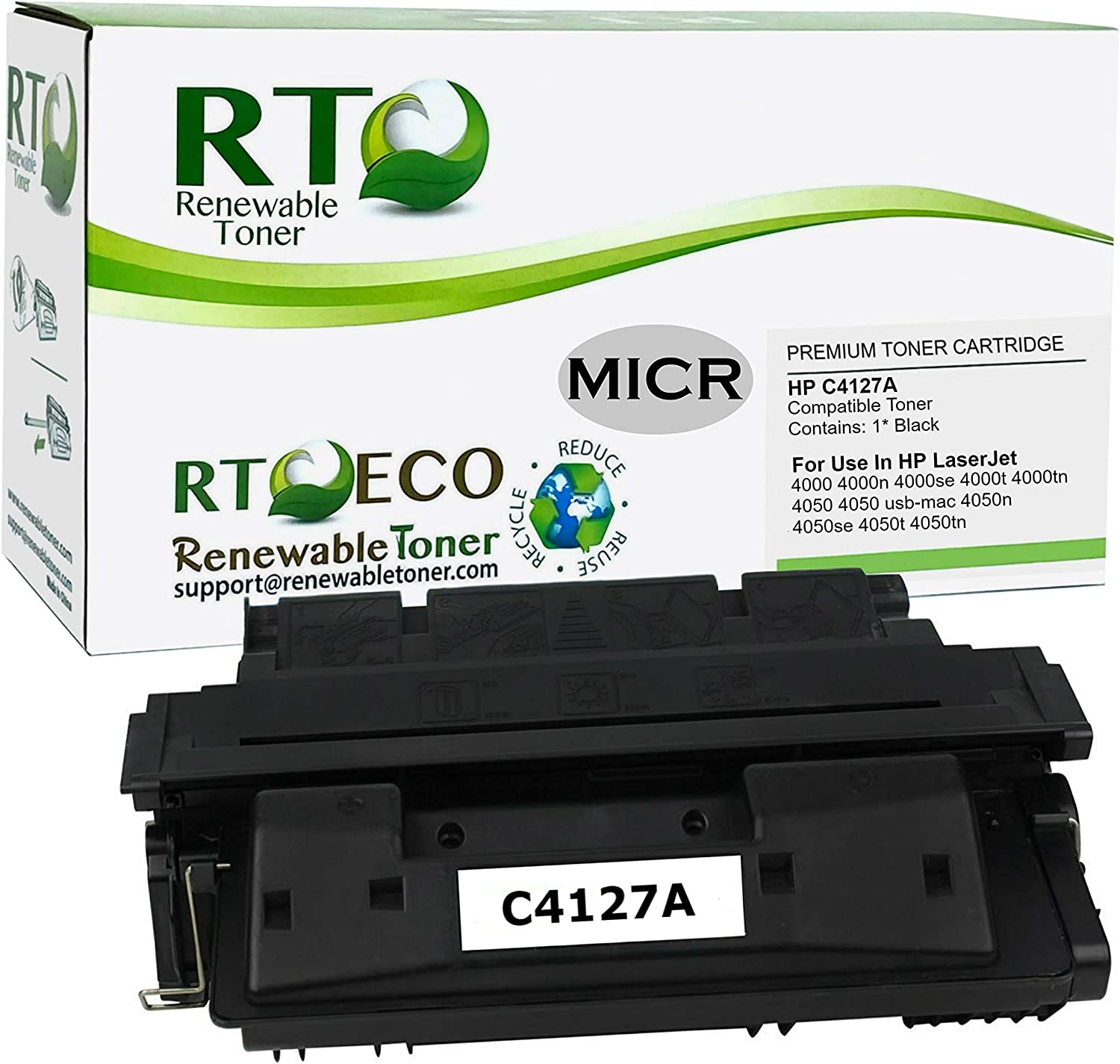 Renewable Toner Compatible MICR Toner Cartridge Replacement for HP C4127A 27A Laserjet 4000 4050