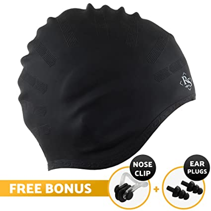 8e5749006ca Royal Swim Cap for Long Hair - Good for Women & Men - Waterproof Premium Silicone  Swimming Caps - Special Shape for Effective Ear Protection - Keeps Hair ...