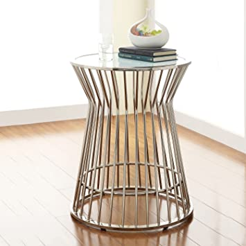Modhaus Living Mid Century Modern Platner Style Chrome Silver Metal Accent Stool Side End Table With Frosted Glass Top Includes Tm Pen Furniture Decor