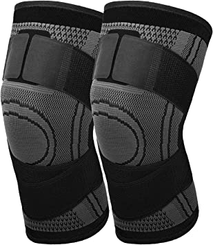 Compression Knee Sleeve Stabilizer Brace dark gray