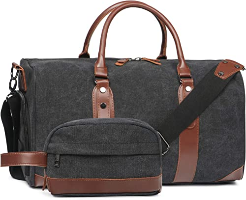 Oflamn Duffle Bag Canvas Leather Weekender Overnight Travel Carry On Tote Bag with Shoe Compartment and Toiletry Bag Black