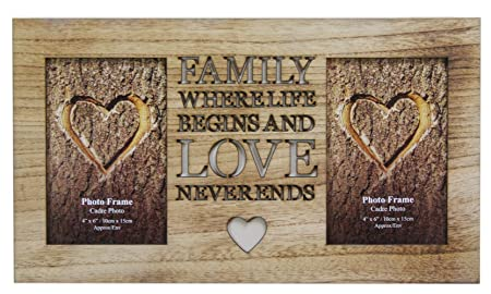 4 X 6 Rustic Double Worded Wooden Family Photo Picture Frame: Amazon ...