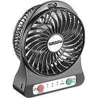 PEARL Mini Ventilator Akku: 2in1-USB/Akku-Tisch-Ventilator mit LED-Leuchte, 1.300 mAh (Ventilator mit Akkubetrieb)