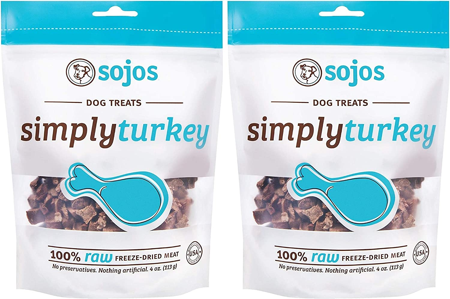 SOJOS 2 Pack of Simply Turkey Dog Treats, 4 Ounces each, 100 Percent Raw Freeze-Dried Meat, Made in the USA