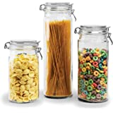 Durable Glass Storage Canister Set, With Air tight | Hinged Lids and Locking Clamp, 3-Piece Food Storage Container Set, Beautiful Food Storage Container