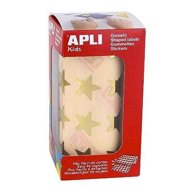 APLI Kids - Rollo de gomets estrella grande, color oro: Oficina y papelería
