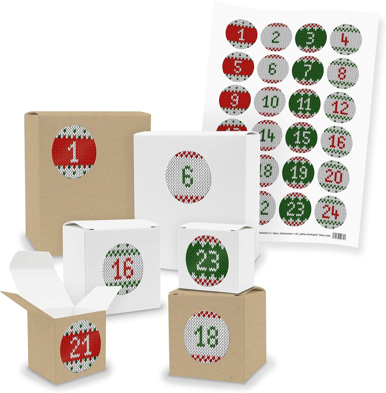 Motiv Z01 Blaut/öne Kraftkarton DIY itenga AdventskalenderSet V03 zum Selberbef/üllen 24x Quader W/ürfel gemischt WEISS//BRAUN + Sticker