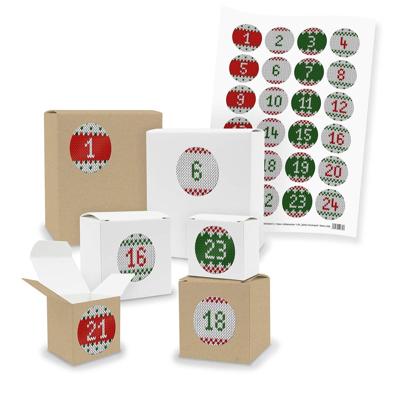 Calendrier de l'Avent à remplir soi-même Itenga V03 - 24boîtes carrées en papier Kraft - Blanc/marron -Avec autocollants Motiv Z01 Blautöne