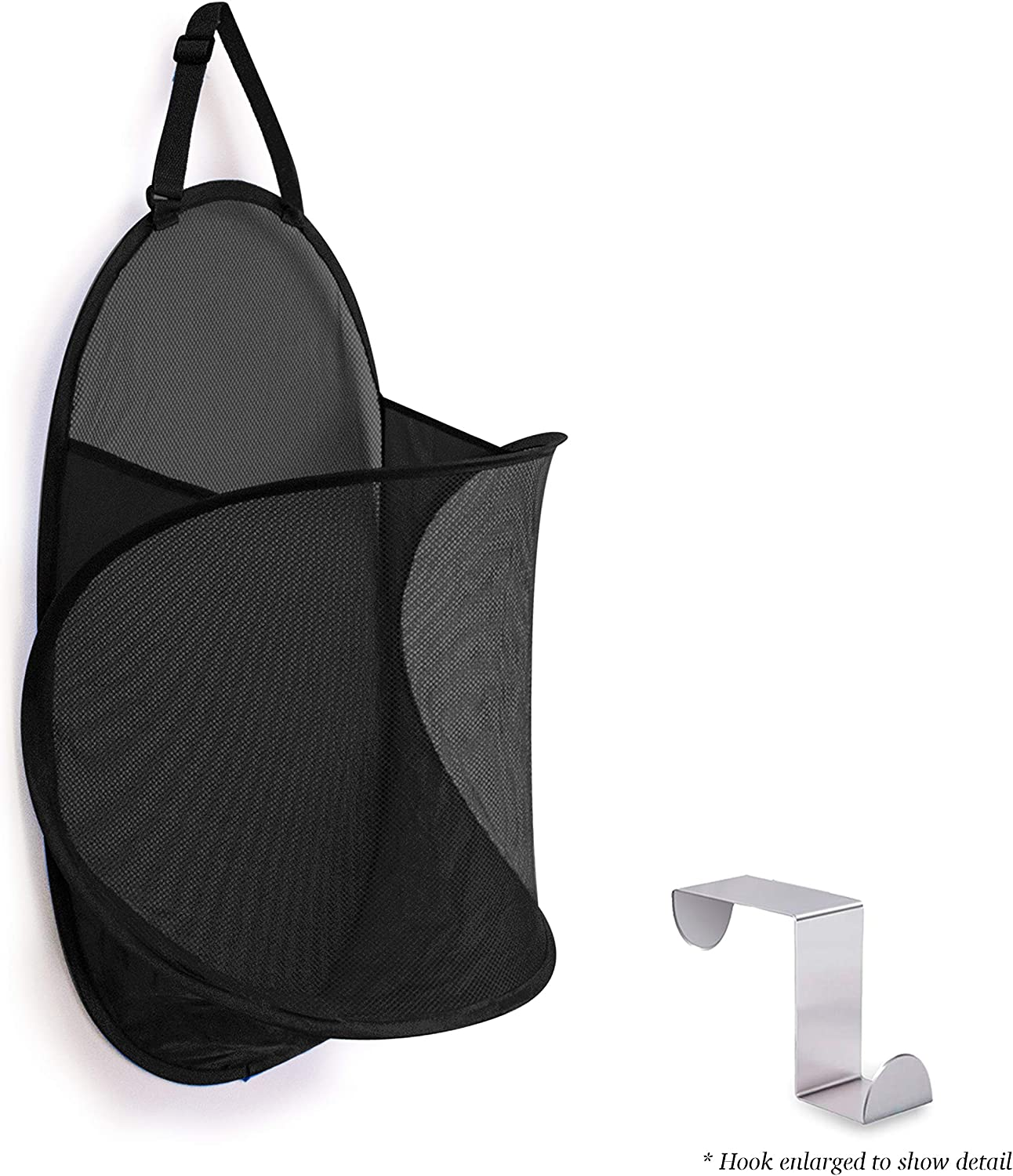 Topline Over-The-Door Mesh Hamper - Black [Hook Included]