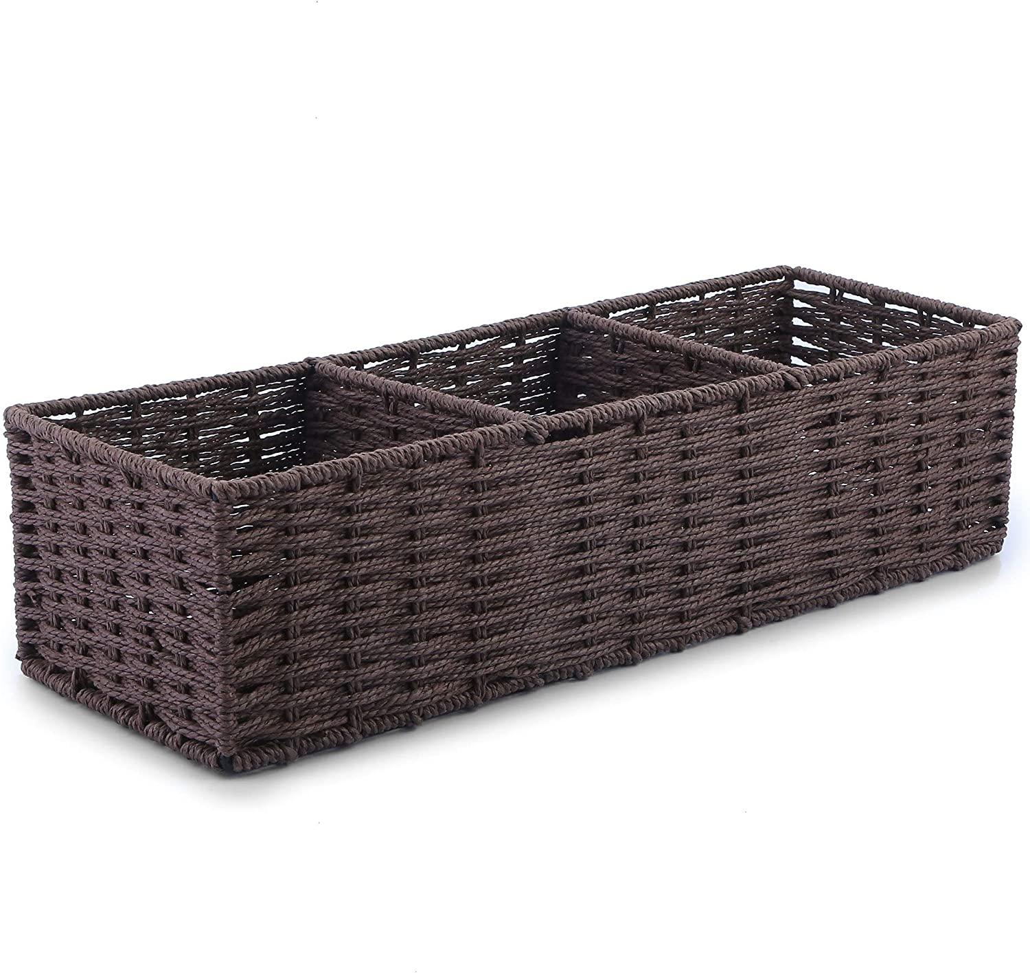 Toilet Paper Storage Bathroom Baskets Organizer, Over Above Small Tiny Woven dividers Basket Tray Bins Counter Organizer Decor Box Rustic Toilet Tank top Cabinet Tray Closet Drawer Rectangle Spice