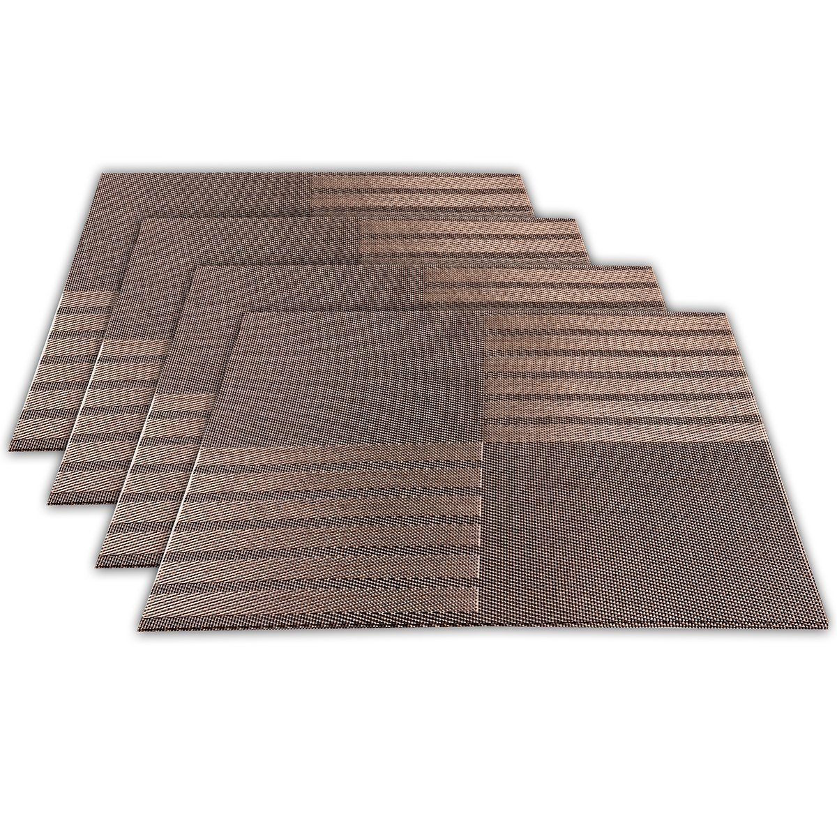 Amazon: Placemats For Table Heatresistant, Arricastle Washable Stain Resistant Woven Vinyl Kitchen Pvc Nonslip Insulation Placemats Set Of  4(brown