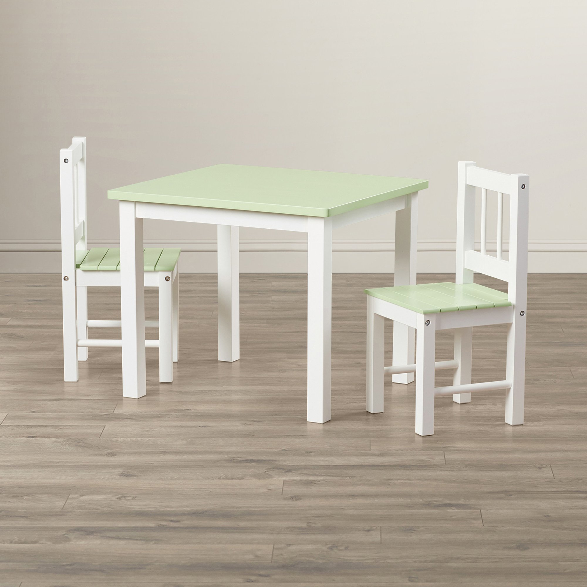 Kids Table And Chairs Set - 3 Piece Table And 2 Chairs - Wood Activity Playroom Furniture - White With Green Top Brightly Colored