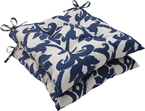 Pillow Perfect Outdoor/Indoor Basalto Navy Tufted Seat Cushions Square Back