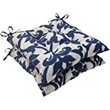 Pillow Perfect Indoor/Outdoor Bosco Tufted Seat Cushion, Navy, Set of 2