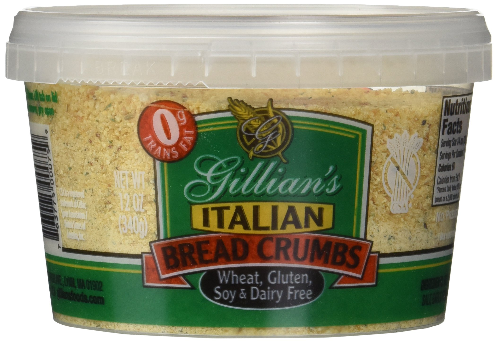 Gillian's Foods Gluten Free Italian Bread Crumbs -- 12 oz by Gillian's Foods