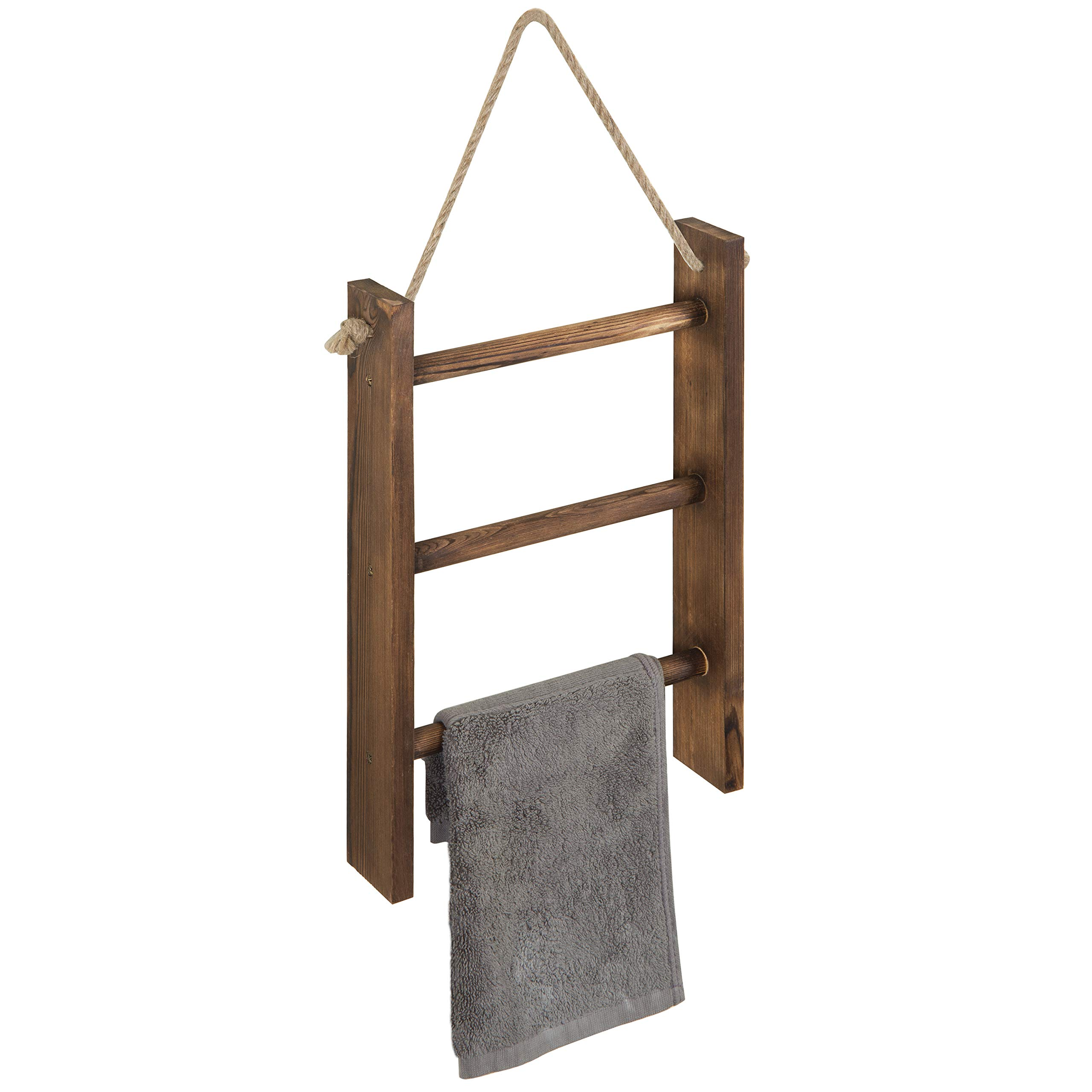 MyGift 3-Tier Rustic Wood Wall-Hanging Towel Ladder with Rope, Dark Brown, 16 x 10 Inch by MyGift
