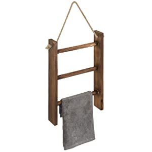 MyGift 3-Tier Rustic Wood Wall-Hanging Towel Ladder with Rope, Dark Brown, 16 x 10 Inch