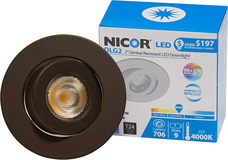 NICOR Lighting 2-Inch Dimmable 3000K LED Gimbal Downlight for NICOR 2-Inch Recessed Housings DLG2-10-120-3K-WH White
