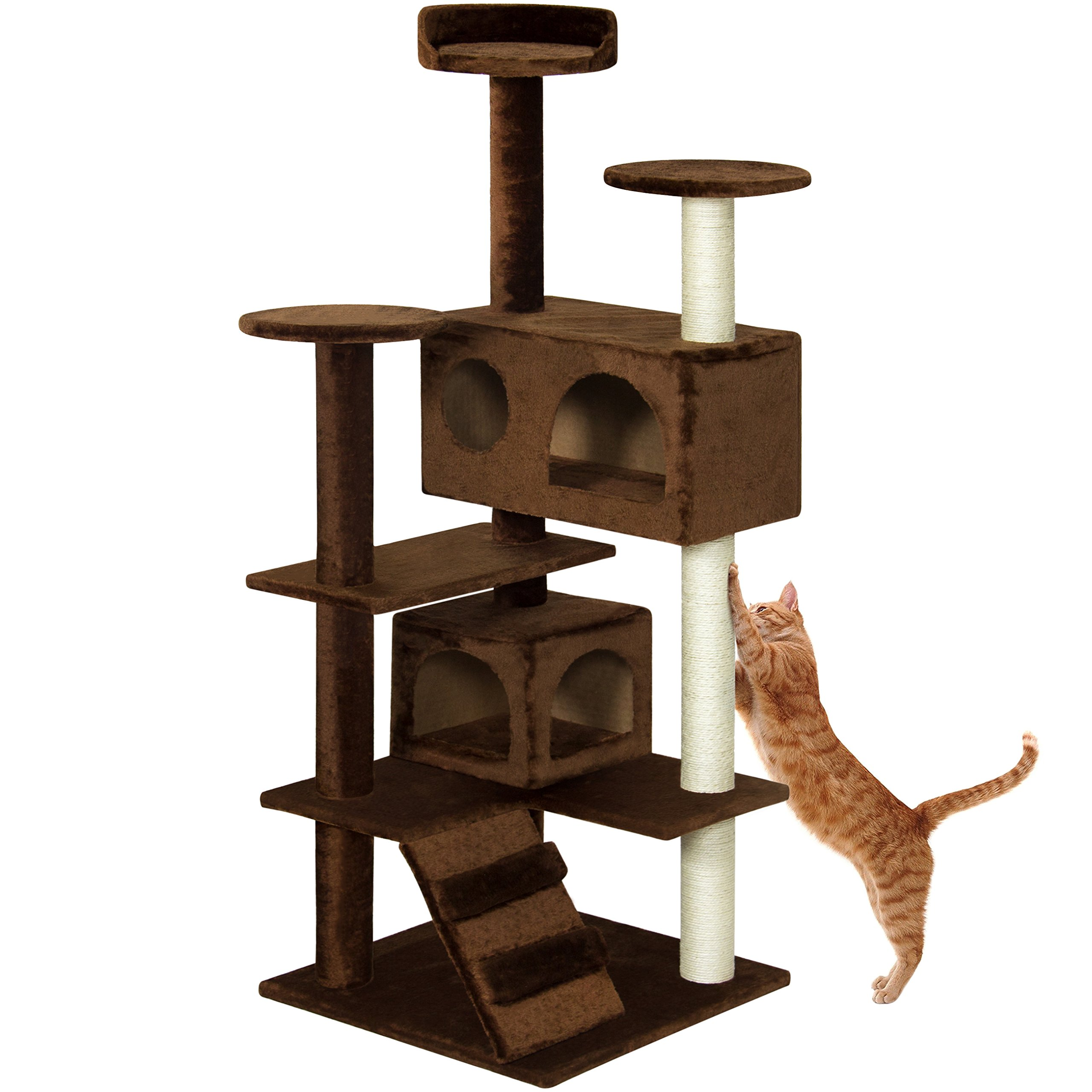 Best Choice Products 53in Multi-Level Cat Tree Scratcher Condo Tower - Brown by Best Choice Products