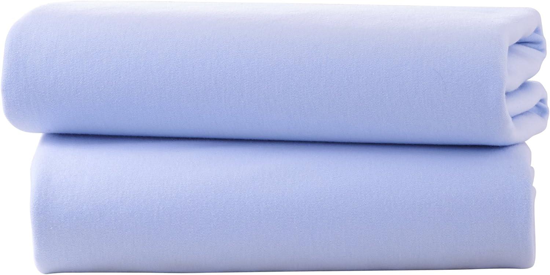 color azul S/ábana bajera 2 unidades, algod/ón jersey Clair de Lune