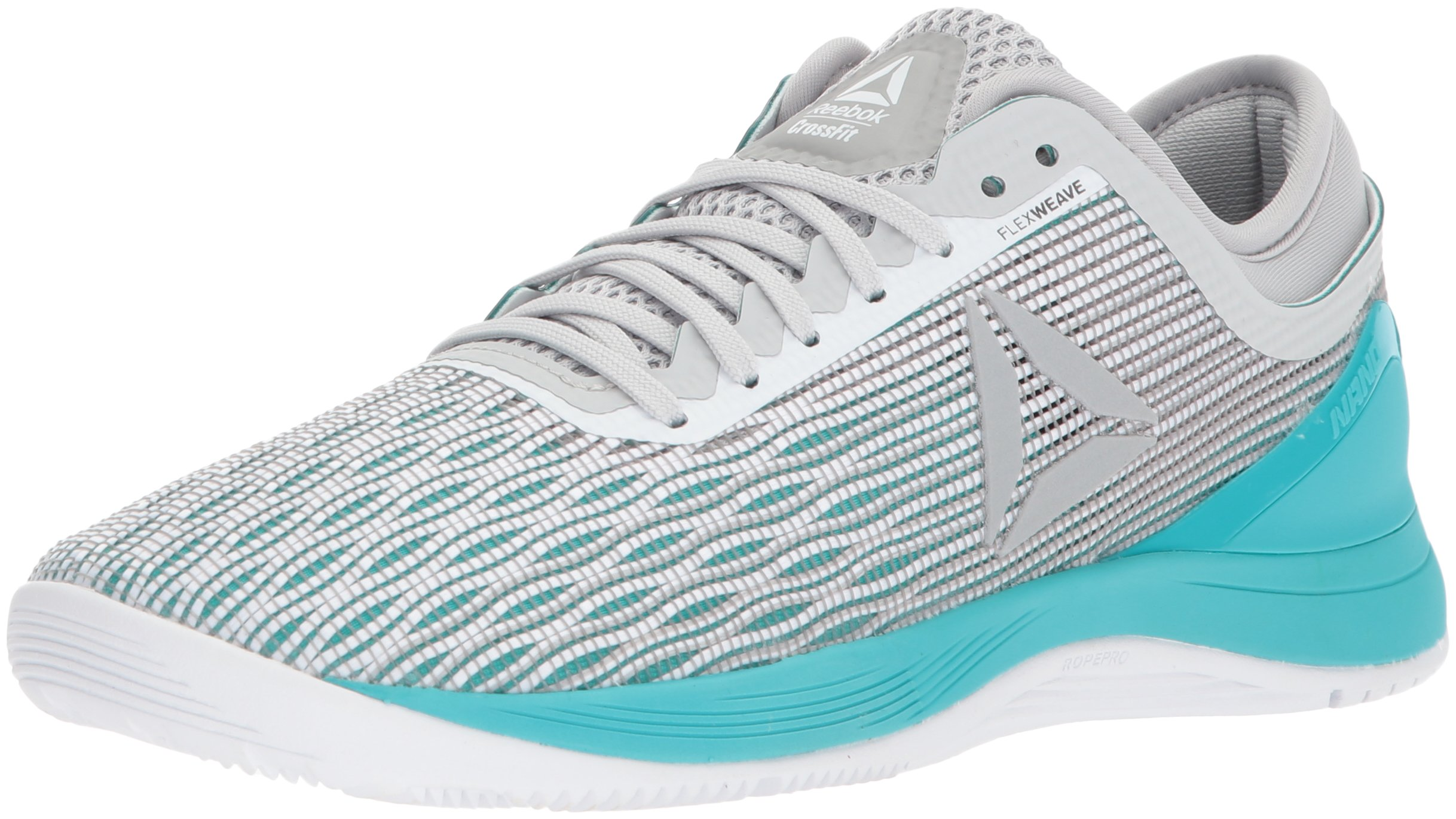 Reebok Women's CROSSFIT Nano 8.0 Flexweave Cross Trainer, White/Stark Grey/Grey/Classic White/Turquoise, 9 M US