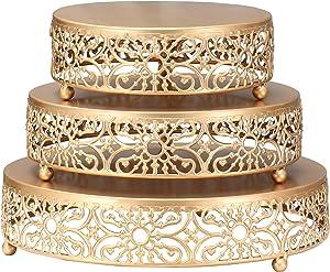 XINLIYA 3-Piece Set Cake Stands Round Cupcake Stands,Metal Wedding Brithday Party Celebration Dessert Display Plates,Gold