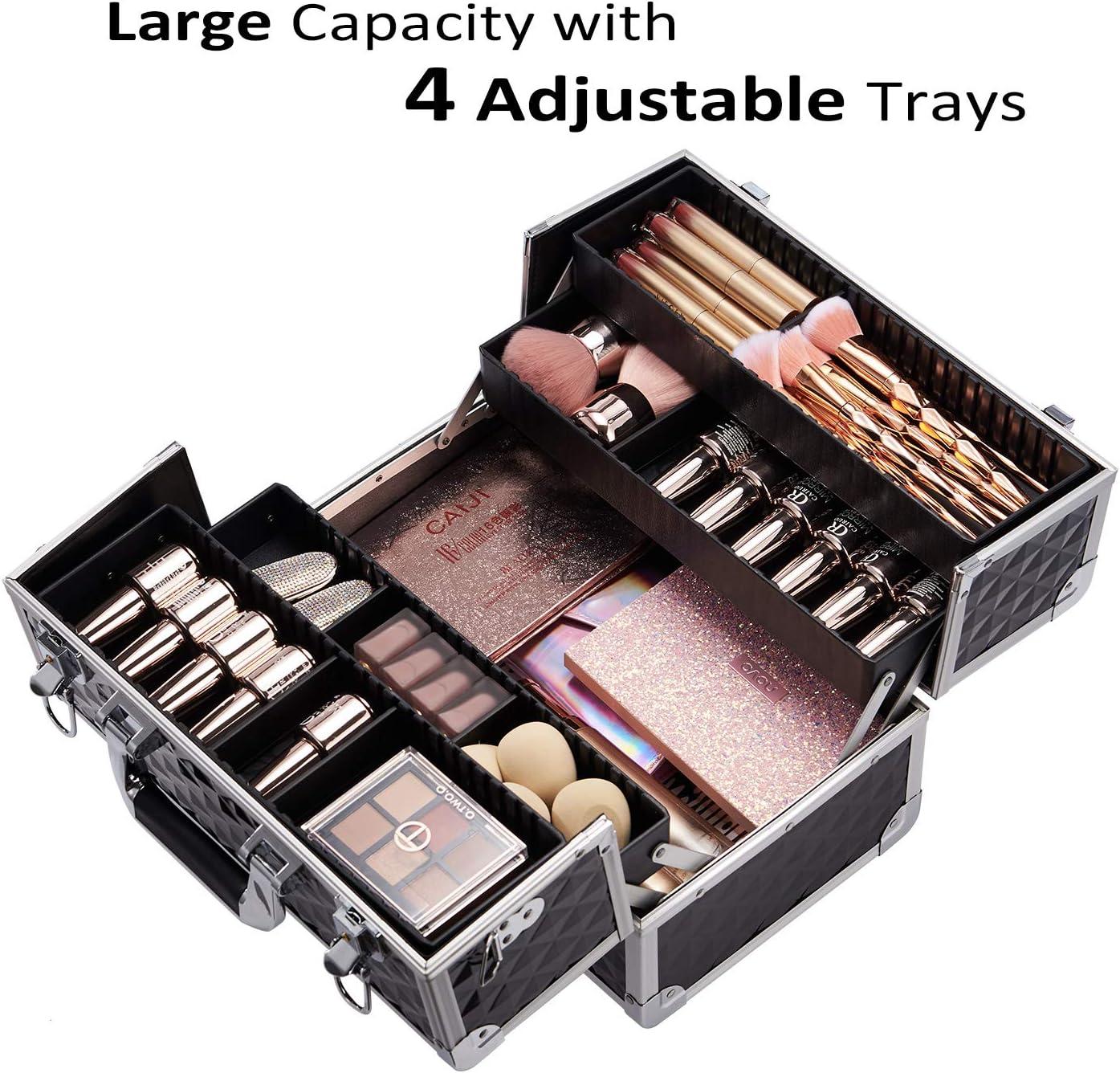 Sac Maquillage Coffret de Rangement de Bijoux de Cas de Vanit/é de Bo/îte de Cosm/étiques de Sac Malette Valise Maquillage Vanity Nior