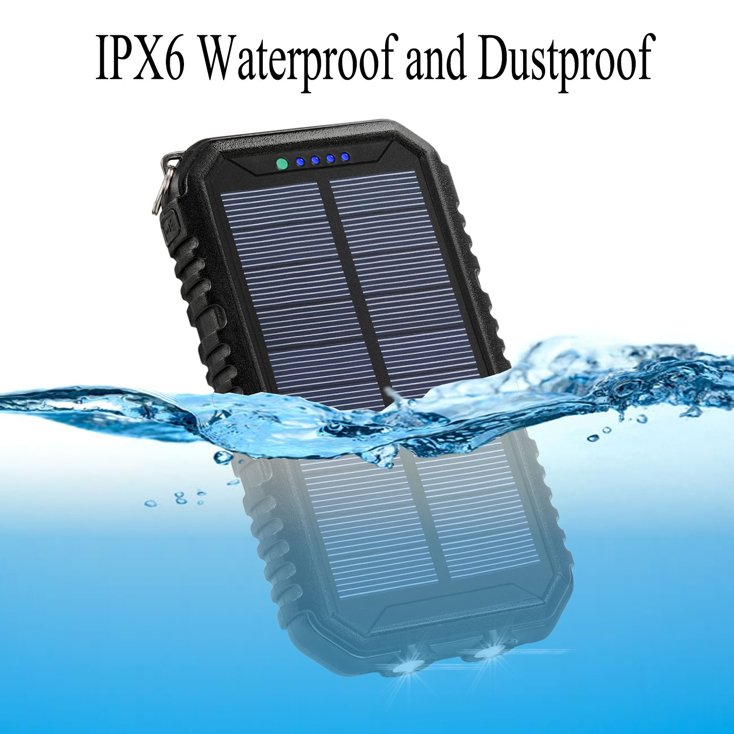 Solar Charger 12000mAh WBPINE Portable Solar Power Bank Shockproof/Dustproof/Waterproof Dual USB 2 LED Flashlights Cellphone More by WBPINE (Image #6)