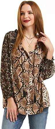 SONJA BETRO Women's Snake Twin Print Chiffon Peasant Style Button Down Blouse Tunic Top Plus Size