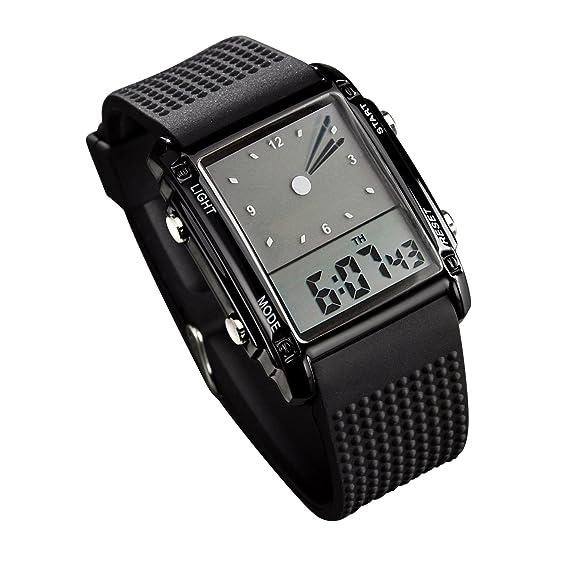 Fanmis - Reloj de pulsera digital y analógico para hombre, esfera rectangular, resistente al agua, con cinco luces led de retroiluminación, color negro: ...