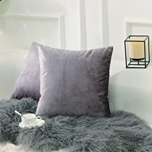 Home Brilliant Velvet Pillow Covers Cushion Covers Decorative Pillowcases Throw Pillowcase Covers for Bench Couch Bed, 18x18 inches(45x45cm), Lilac