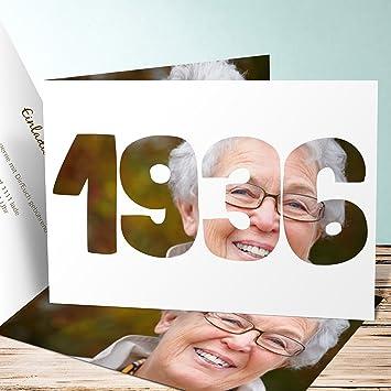 Einladung 80 Geburtstag Selbst Gestalten, Jahrgang 1936 20 Karten,  Horizontale Klappkarte 148x105 Inkl.