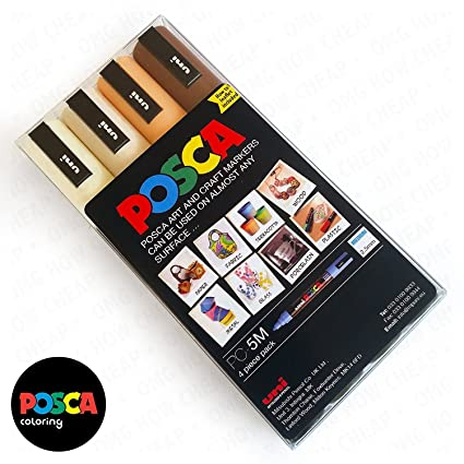 Amazon.com: POSCA Colouring - PC-5M Skin Tone Set of 4 - In Wallet ...