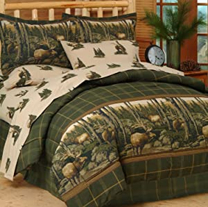 Blue Ridge Trading Rocky Mountain Elk Complete Bed Set, King, Green/Brown