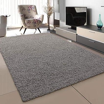 SANAT Teppich Wohnzimmer - Hellgrau Hochflor Langflor Teppiche Modern,  Größe: 10x10 cm
