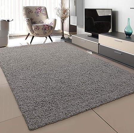 SANAT Teppich Wohnzimmer - Hellgrau Hochflor Langflor Teppiche Modern,  Größe: 8x8 cm