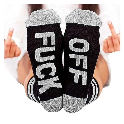 9a46ce88576c0 Pxmoda Soft Funny Fuck It Fuck OFF Socks Letter Print Knit Socks (A-fuck Off-Gray,  Medium) at Amazon Women's Clothing store: