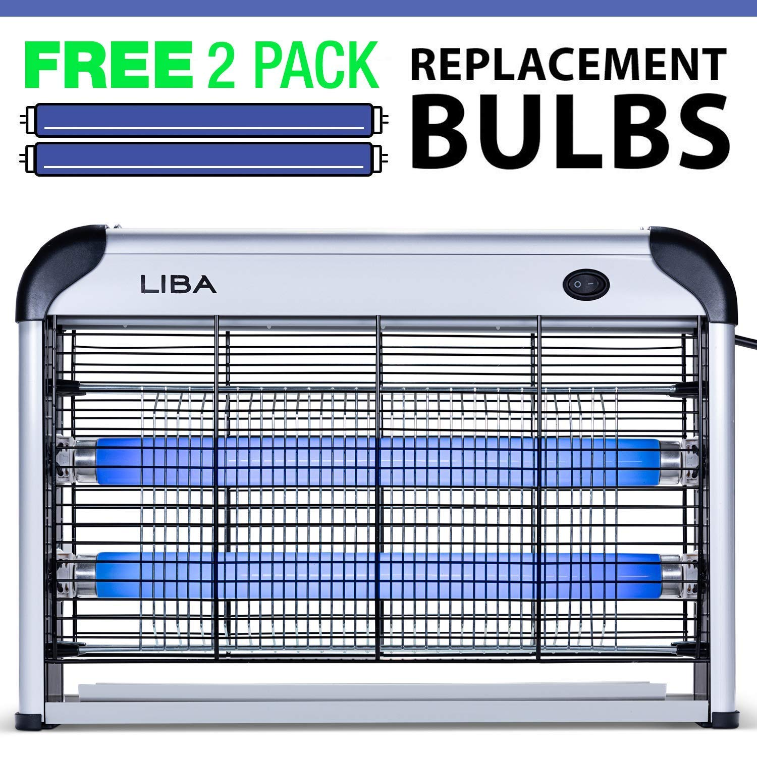 LiBa Bug Zapper Electric Indoor Insect Killer Mosquito, Bug, Fly Killer - Powerful 2800V Grid 20W Bulbs - 2-Pack Replacement Bulbs Included by LiBa