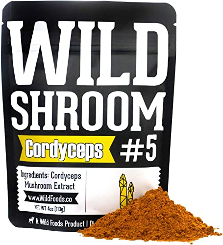 Cordyceps Mushroom Extract Powder 10 1 by Wild Foods Cultivated Mycelium, Triple Hot Water Extract Adaptogenic Nootropic Herb for Focus, Memory and Health 4 Ounce