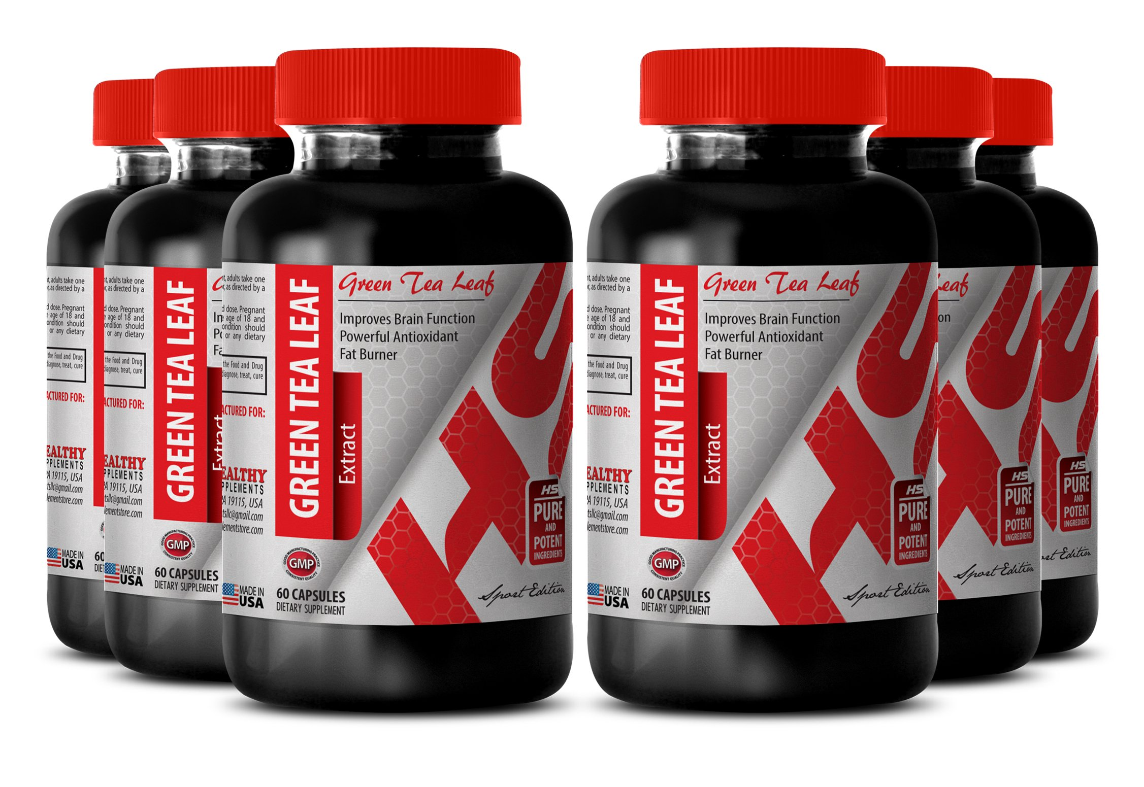 Green tea organic pills - 300 MG GREEN TEA LEAF EXTRACT - for weight loss process (6 Bottles)