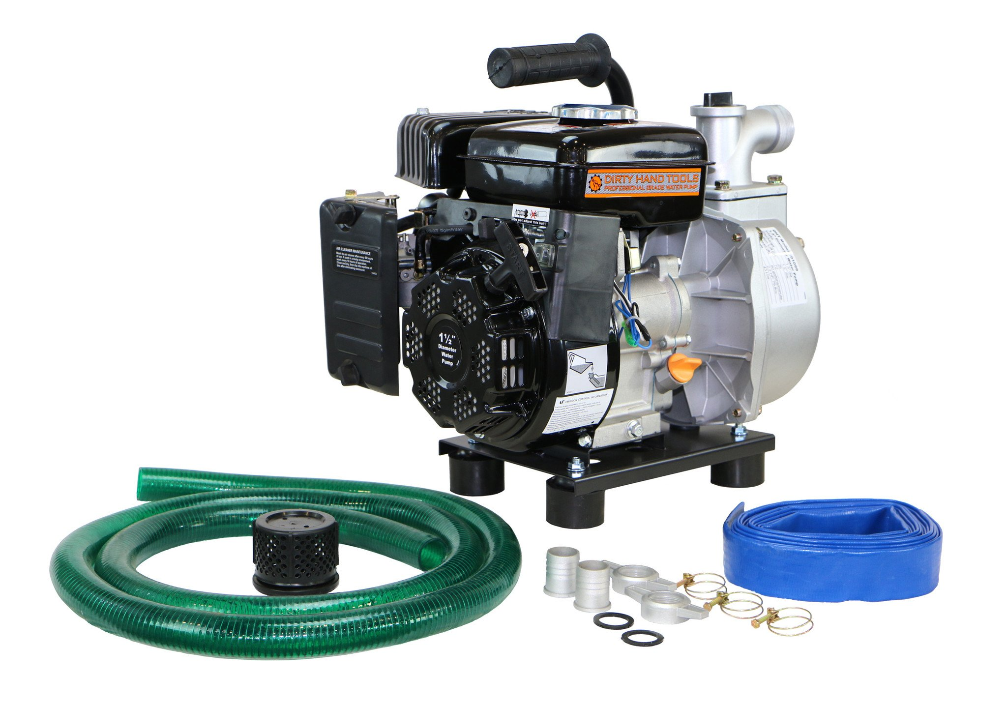 Dirty Hand Tools 1.5'' Diameter Water Pump with Hose Kit