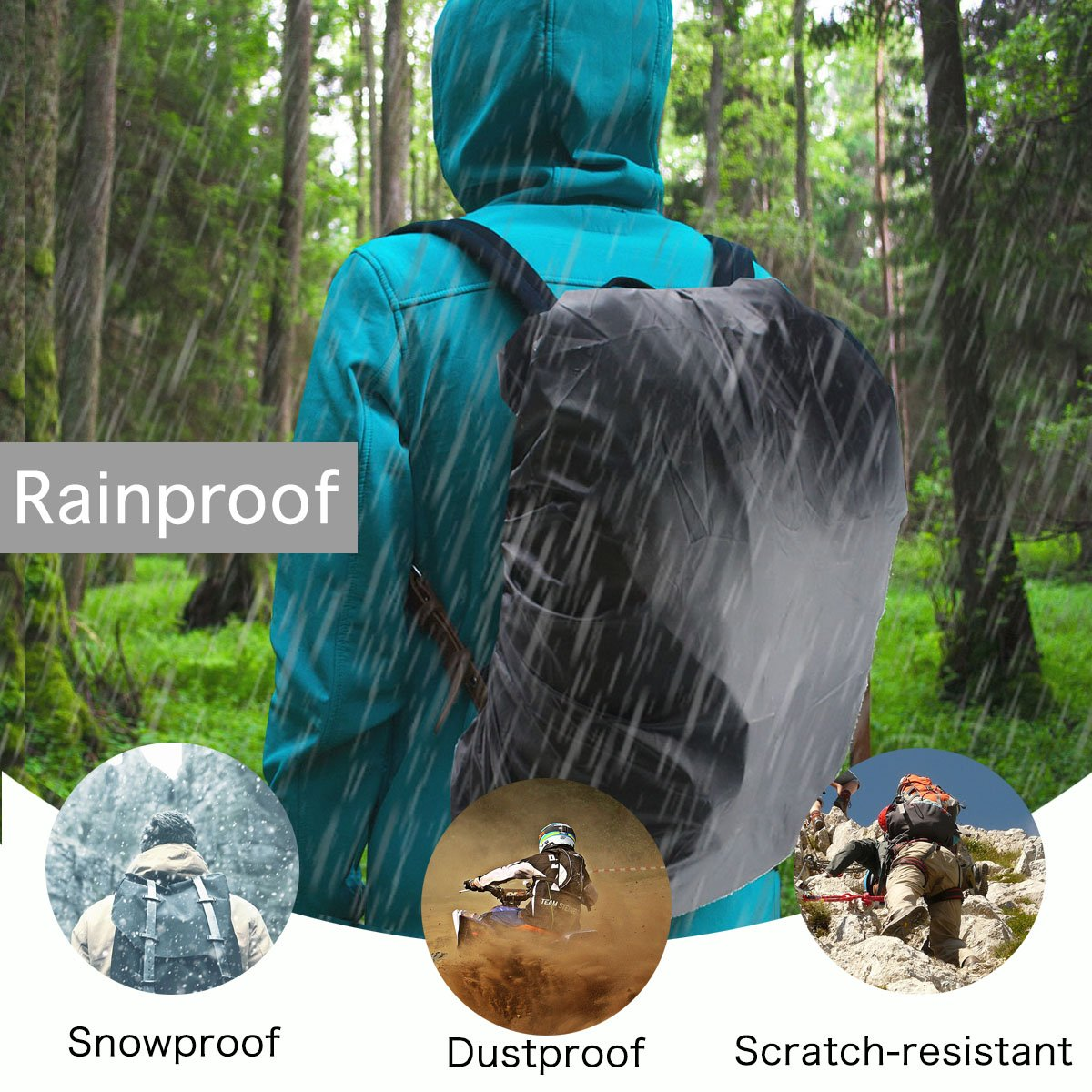Frelaxy Waterproof Backpack Rain Cover for (15-90L), Upgraded Design & Silver Coated, for Hiking, Camping, Traveling, Outdoor Activities (Army Green, M) by Frelaxy (Image #7)