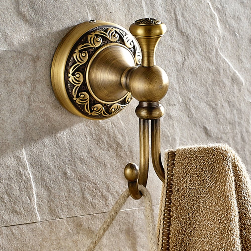 Weare Home All Brass Construction Double Clothes Hooks Coat Hooks Towel Hooks Cap Hooks Vintage Retro Design Antique Brass Finished Wall Mounted for Bathroom