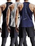Neleus Men's 3 Pack Mesh Workout Muscle Tank Top,5007,Black,Grey,Navy Blue,US M,EU L