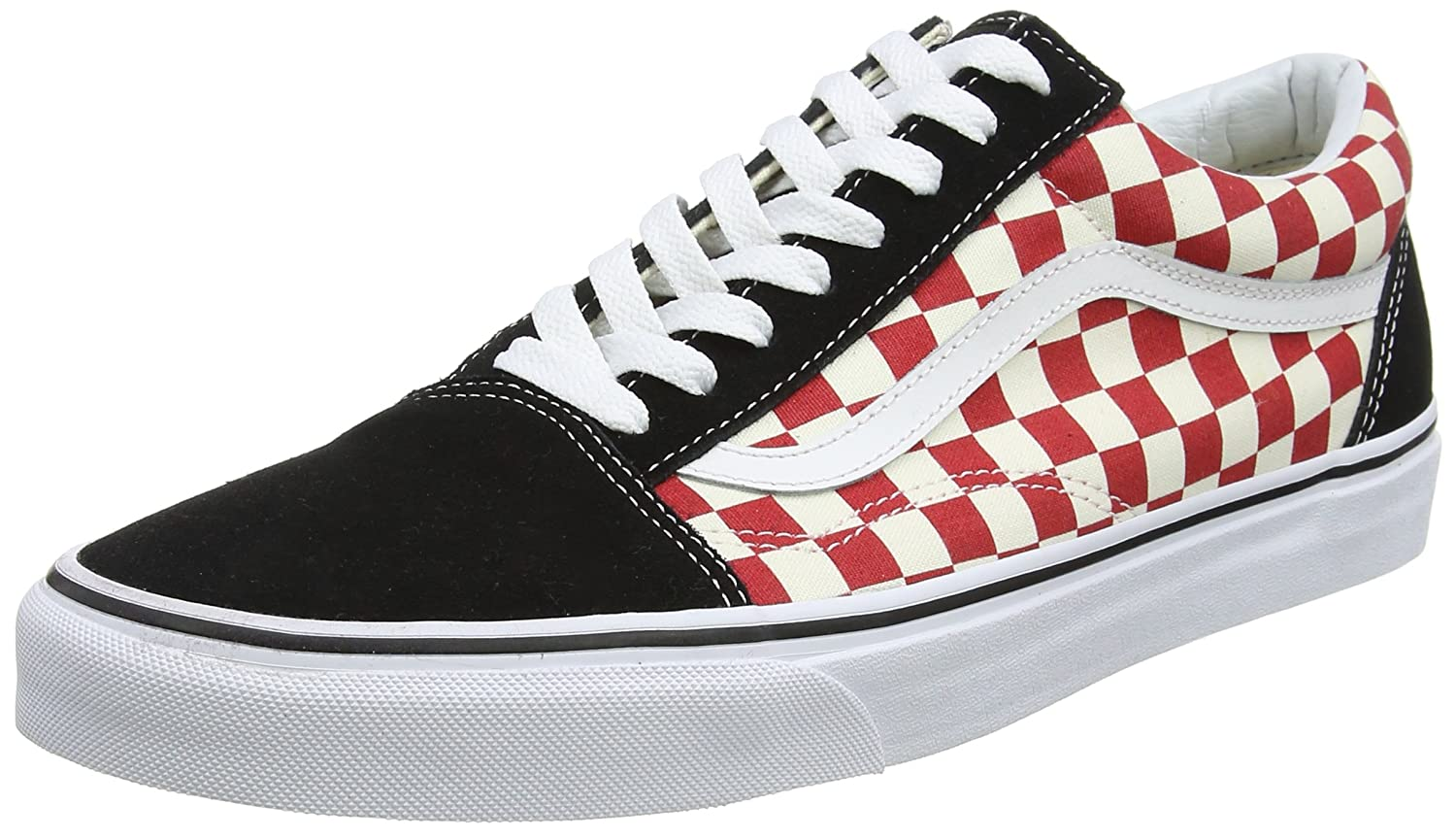 Vans Old Skool Unisex Adults' Low-Top Trainers B075FX4Y1K 10 M US Women / 8.5 M US Men|(35u) (Checkerboard) Black/Red