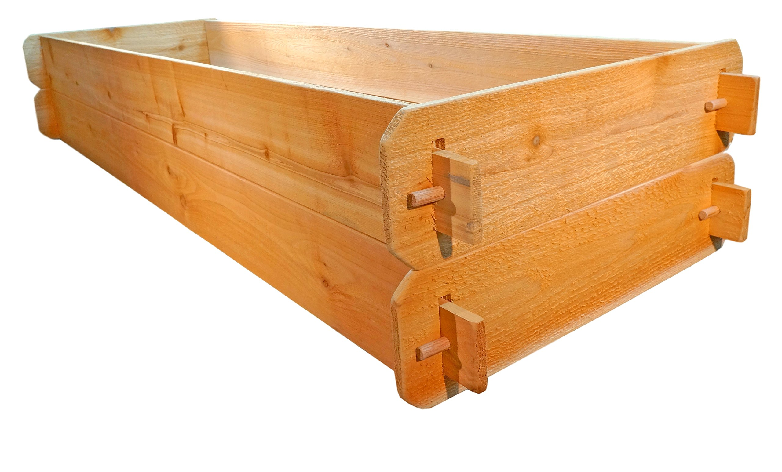 """Timberlane Gardens Raised Bed Kit Double Deep (Two) Western Red Cedar with Mortise and Tenon Joinery, 24"""" W x 72"""" L 2 <p>Raised garden bed kit dimensions: 2 feet wide x 6 feet long (6 inches deep) and 2 feet wide x 6 feet long (6 inches deep). Depth is 12 inches when stacked. 5/8"""" thick. Inner (planting) dimensions are a bit smaller due to the mortise & tenon joints. Raised Garden Bed Kit Proudly Made in Homer Glen, Illinois USA. Constructed of Select Western Red Cedar. Aromatic and Naturally Insect & Rot Resistant. Handcrafted Mortise & Tenon Joinery. The Strongest Corner Joints Available. Easy to Assemble in Seconds, No Tools Required. Perfect for a Children's Garden. Splinter Free. 100% Natural and Chemical Free. Safe for Vegetables and Best for Organic Gardening.</p>"""