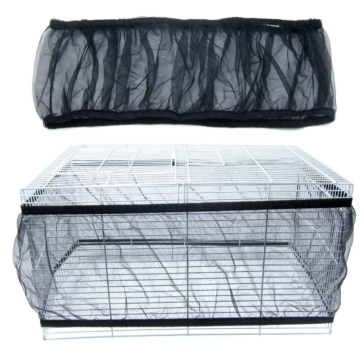 Alfie Pet by Petoga Couture - Sunny Mesh Bird Seed Catcher Guard Net - Color: Black, Size: Large